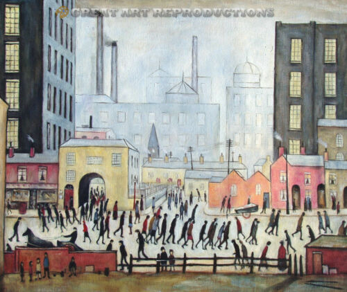 """""""Coming From the Mill, L.S. Lowry, Reproduction in oil,  48""""x40"""""""