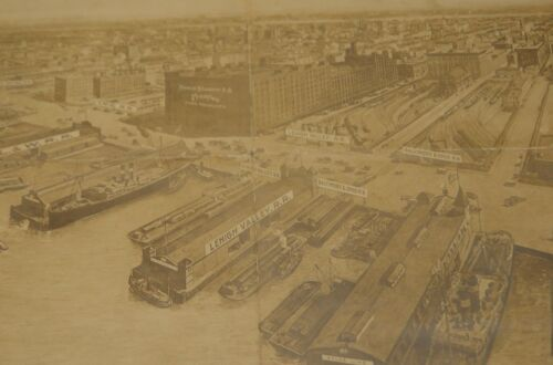 New York City Map Birds Eye View 1914 Tribeca West Village Meatpacking Dist