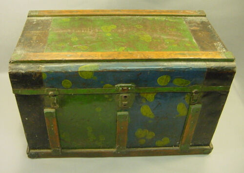 ! Antique ea.1900's Wooden Tin Covered Small Trunk Blanket Chest Box Green Blue