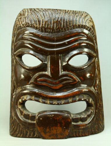 * Antique Hawaii Pacific Islands Carved Wooden Mask Tiki