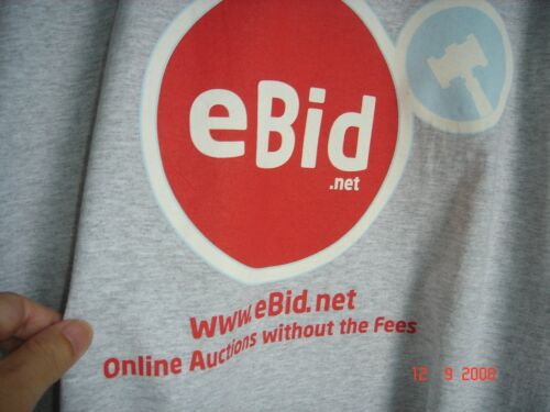 New Gray X-Large Size T-Shirt, Red Color eBid Logo
