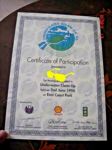 Singapore, 1996 Underwater Clean-Up, Certificate of Participation