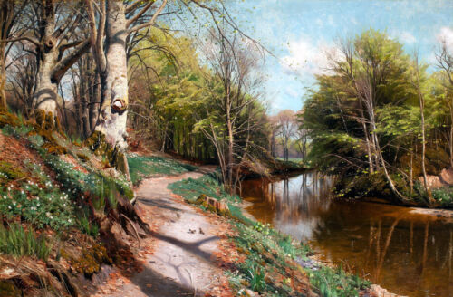 Trail scenery along the river Oil painting Giclee Art Printed on canvas L2529