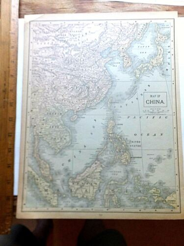 1899 Color Map of China/Russia in Europe. 10 5/8 x 13 3/4 inches.
