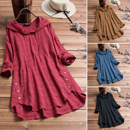 ZANZEA 8-24 Women Casual Plaid Tunic Top Tee T Shirt Hoodie Plus Size Blouse HOT <br/> New Design Added, Now in Long Sleeves / Short Sleeves!