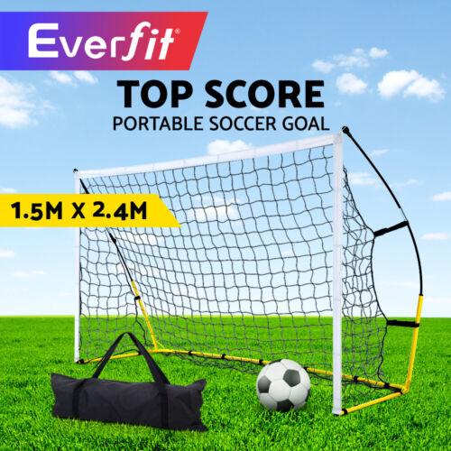 Everfit Portable Soccer Football Goal Net Kids Outdoor Training Sports <br/> 2.4M x 1.5M / Carry Bag / Easy Set-up / Steel Frame