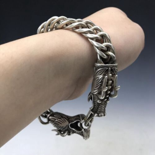 Collection old China Tibet silver exquisite double dragon head bracelet