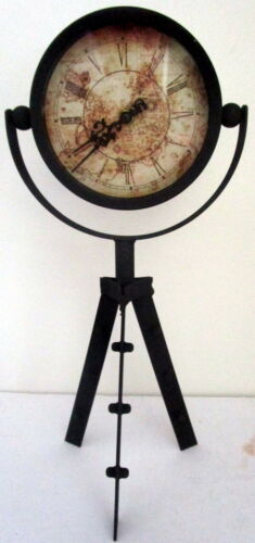 40CM TALL VINTAGE METAL CLOCK ON TRIPOD WITH WORLD MAP ON FACE CLEARANCE SALE BN