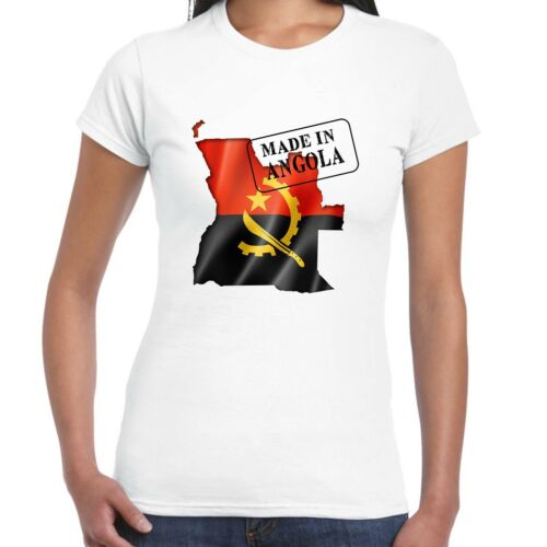 Donna Made in Angola - T-Shirt Bandiera e Mappa, Country, Regalo T-Shirt