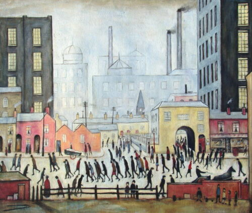 """""""Coming From the Mill"""", L.S. Lowry, Reproduction in Oil, 24""""x20"""""""