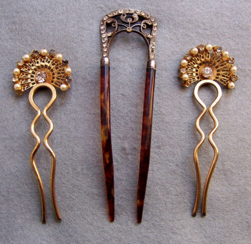 Three rhinestone hair pins hair accessories