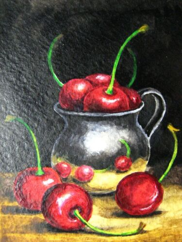 Watercolor Painting Cherry Red Juicy Berries Metallic Cup Still-life ACEO Art