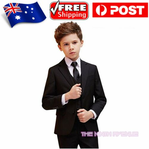 Brand New Boy's formal 5pcs Wedding Party Dress up Tuxedo Suit Size 00-16