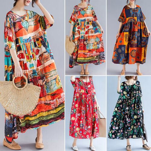 ZANZEA 10-24 Women Flare Swing Caftan Kaftan Full Length Long Maxi Floral Dress <br/> New Style Just Added! Now with 7 Colors & Designs!