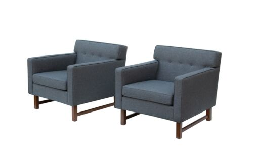 Tufted Midcentury Modern Armchairs by Franklin Furniture, pair Dunbar Ed Wormley