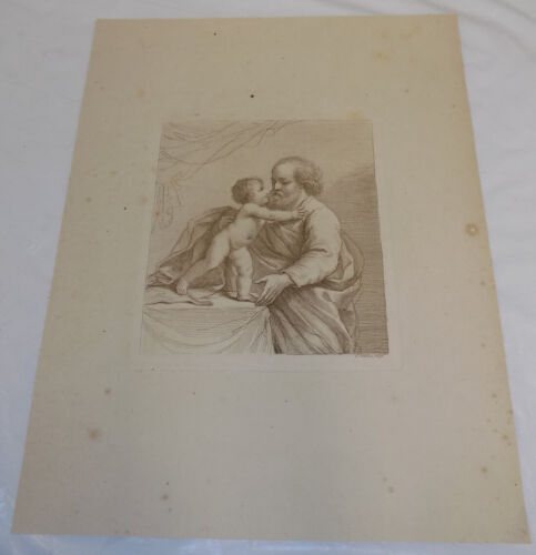 Early 1800s Antique Print///GREAT-GRANDPA AND CHILD