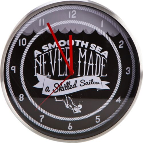 Wall Clock Large Black Silver Round Vintage Sailor Analogue Battery Operated New