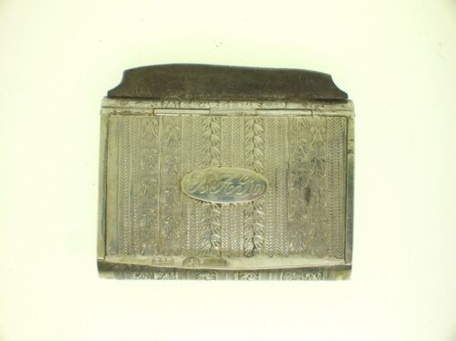 18th C. ENGLISH STERLING SILVER ENGRAVED VESTA CASE WITH STRIKE + BONUS OLD CASE