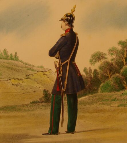 ORIGINAL ANTIQUE Imperial Russian Lithograph 1848 Dragoon Guard Regiment Uniform