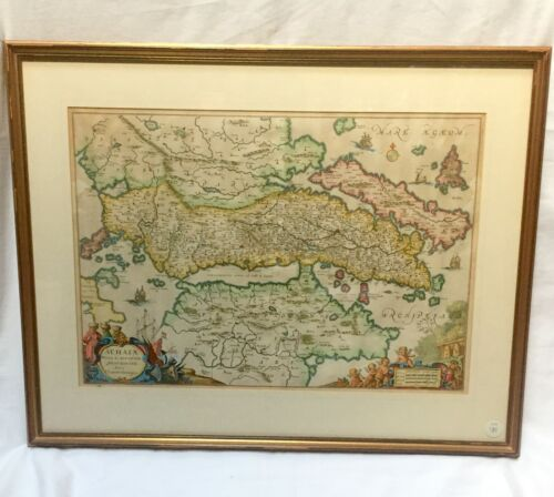 JAN JANSSON (1588-1664) RARE MAP OF ACHAIA - NICE - GALLERY FRAMED & GLAZED