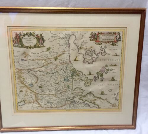 JAN JANSSON (1588-1664) RARE MAP OF THESSALIA - NICE - GALLERY FRAMED & GLAZED