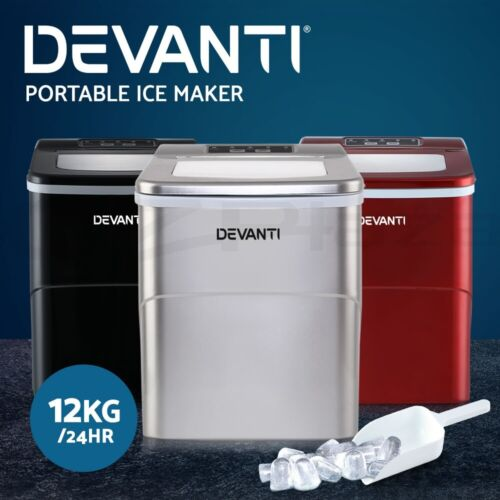 Devanti Ice Maker Machine Commercial Portable Ice Cube Tray Bar Countertop Party <br/> *Presale Item Will Be Dispatched On 30TH AUG*
