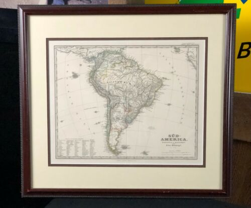 Framed Antique Map, 1875 South America Colored, Patagonia Justus Perthus