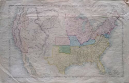 Antique map of The United States Territories 1850-1880. Colorized and Frameable.