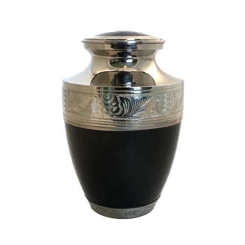 Well Lived® Black And Silver Brass Adult Cremation Urn for human ashes <br/> Well Lived® - The most trusted name in ashes scattering