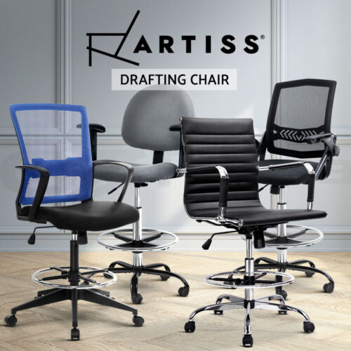 Artiss Office Chair Veer Drafting Stool Mesh Chairs Armrest Standing Desk <br/> Adjustable Footrest / Highly Breathable / 3-YR Warranty