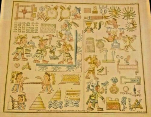 Antique Block Print of Aztec Legends told by  Picturesque Symbols 1795 Very Rare