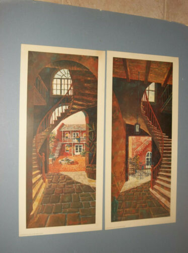 2 1963 PRINTS BY DRUMMOND 2 VIEWS OF THE SAME STRUCTURE, HOME, AND STAIRCASES