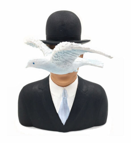 Rene Magritte Man In Bowler Hat And Dove Resin Sculpture