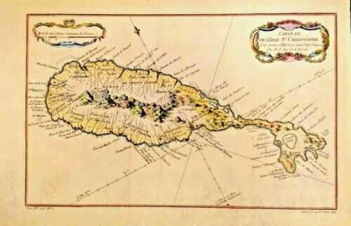 RARE Map of Carte de De L'isle St. Christophe 1758 ST. KITTS IN THE CARIBBEAN