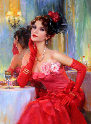 Elegant woman in red dress oil painting Giclee Art Printed on canvas L2698
