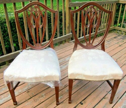 Vtg PAIR OF MAHOGANY SHIED-SHAPED BACK SIDE CHAIRS,