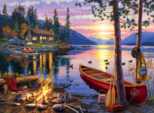 Canoe by the lake Oil painting printed Art Printed on canvas L2715