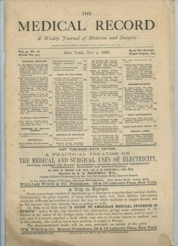5/5 1888 New York Medical Record Journal Medicine Surgery Doctor Trade Magazine