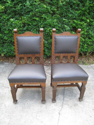 Arts and Crafts Oak Hall Chairs (2) c.1880