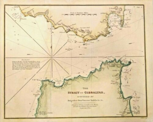 Antique map of The Strait of Gibraltar