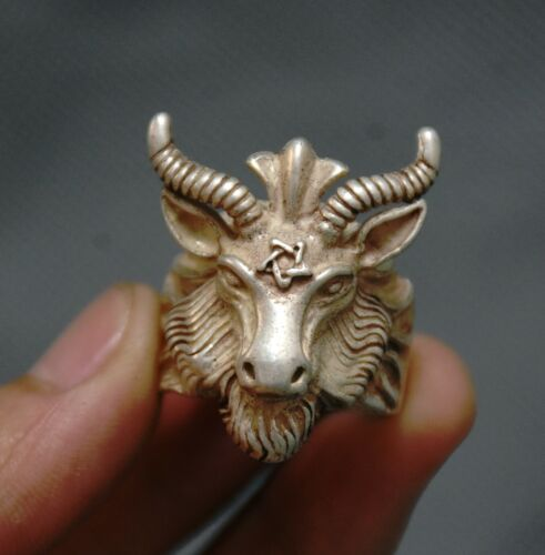 3.5cm Old Chinese Silver 12 Zodiac Year Sheep Head Jewelry Hand Ring
