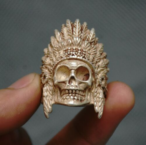 3.5cm Old Chinese Silver human skeleton King Skull Head Jewelry Hand Ring