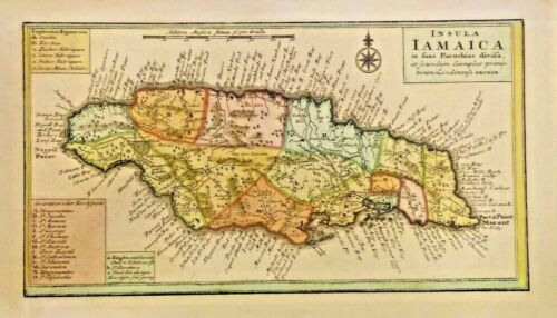 Antique map of Insula Iamaica in fuas Parochias divif 1737. BEAUTIFUL JAMAICA