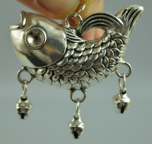 Collectible China Style Tibet Silver copper Carved Lifelike Fish Fine Pendant