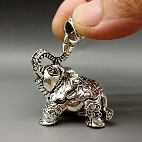 Collectable Tibet Silver Hand Carved Elephant Model Pattern Pendant    A846