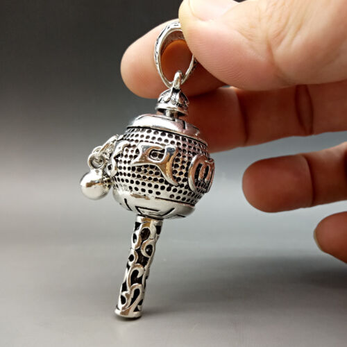 Collectable Tibet Silver Hand Carved Rotation & small bellPattern Pendant   Z356