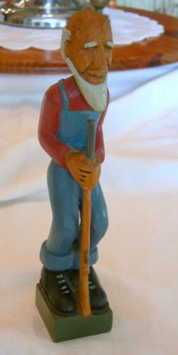 Primitive HAND CARVED FOLK ART Old Man With Rifle Signed