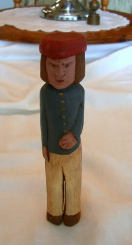Primitive HAND CARVED FOLK ART Military Colonial? Private