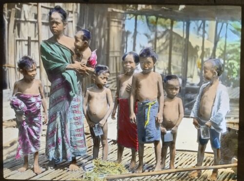 Magic Lantern Glass Slide young Dyak Mother Borneo Woman with Children native