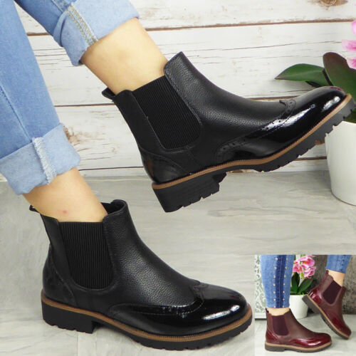 Womens Ankle Brogue Boots Ladies Chelsea Slip On Fashion Shoes Casual Comfy Size